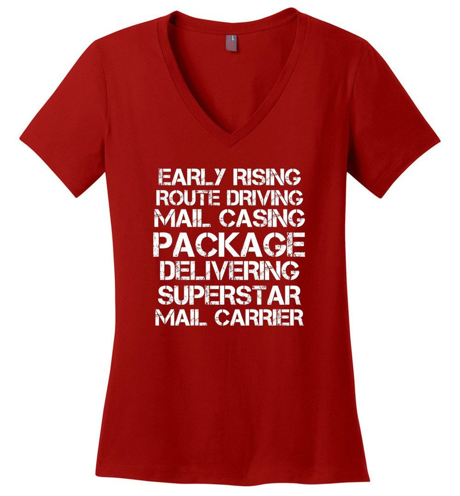 Postal Worker Tees Women's V-Neck Red / S Superstar Mail Carrier Women's V-Neck Tshirt