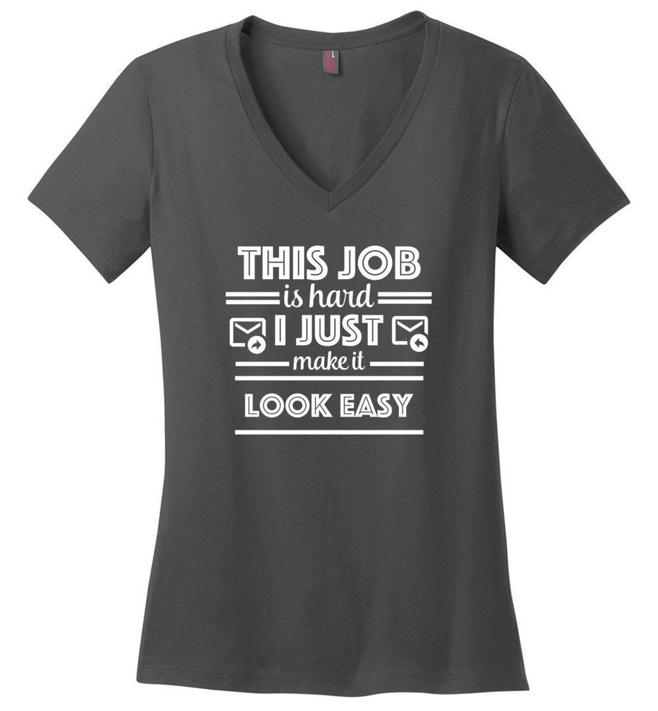 Postal Worker Tees Women's V-Neck Charcoal / S This job is hard Women's V-Neck Tshirt