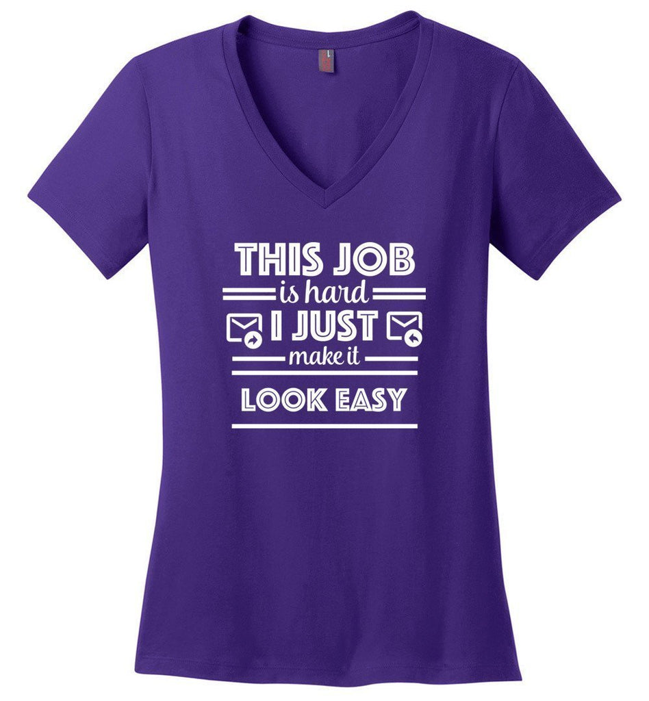Postal Worker Tees Women's V-Neck Purple / S This job is hard Women's V-Neck Tshirt