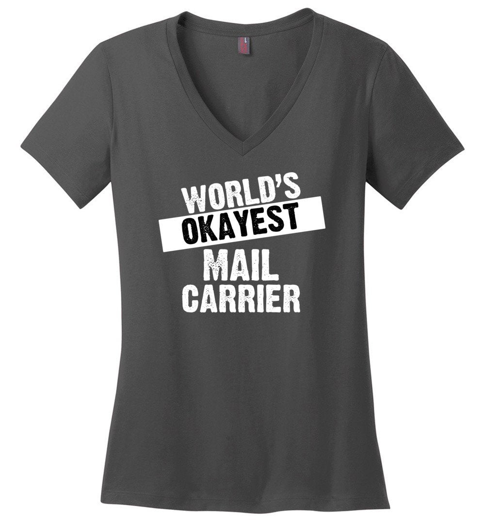 Postal Worker Tees Women's V-Neck Charcoal / S World's Okayest Mail Carrier Women's V-Neck Tshirt