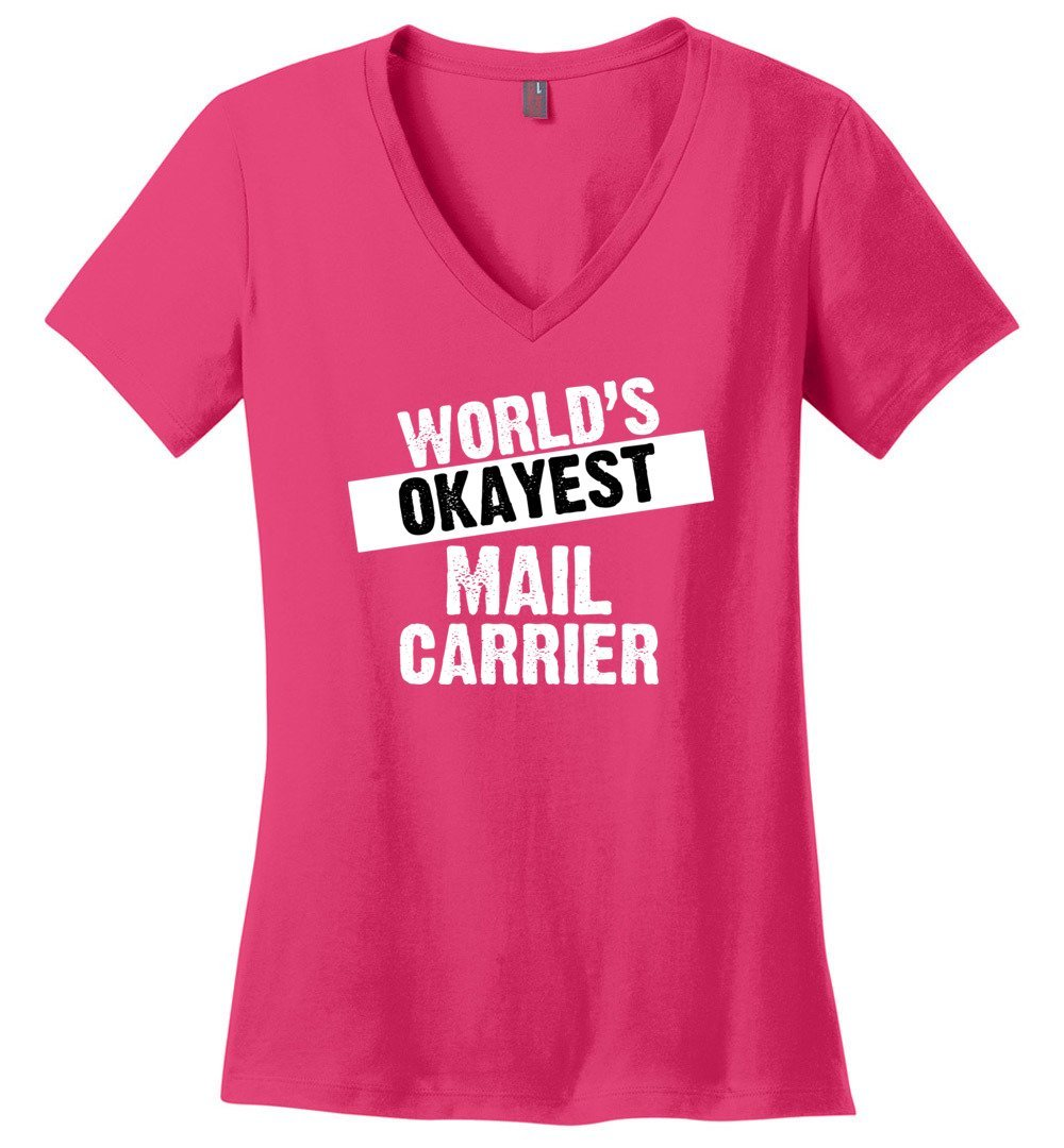 Postal Worker Tees Women's V-Neck Dark Fuchsia / S World's Okayest Mail Carrier Women's V-Neck Tshirt