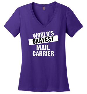 Postal Worker Tees Women's V-Neck Purple / S World's Okayest Mail Carrier Women's V-Neck Tshirt