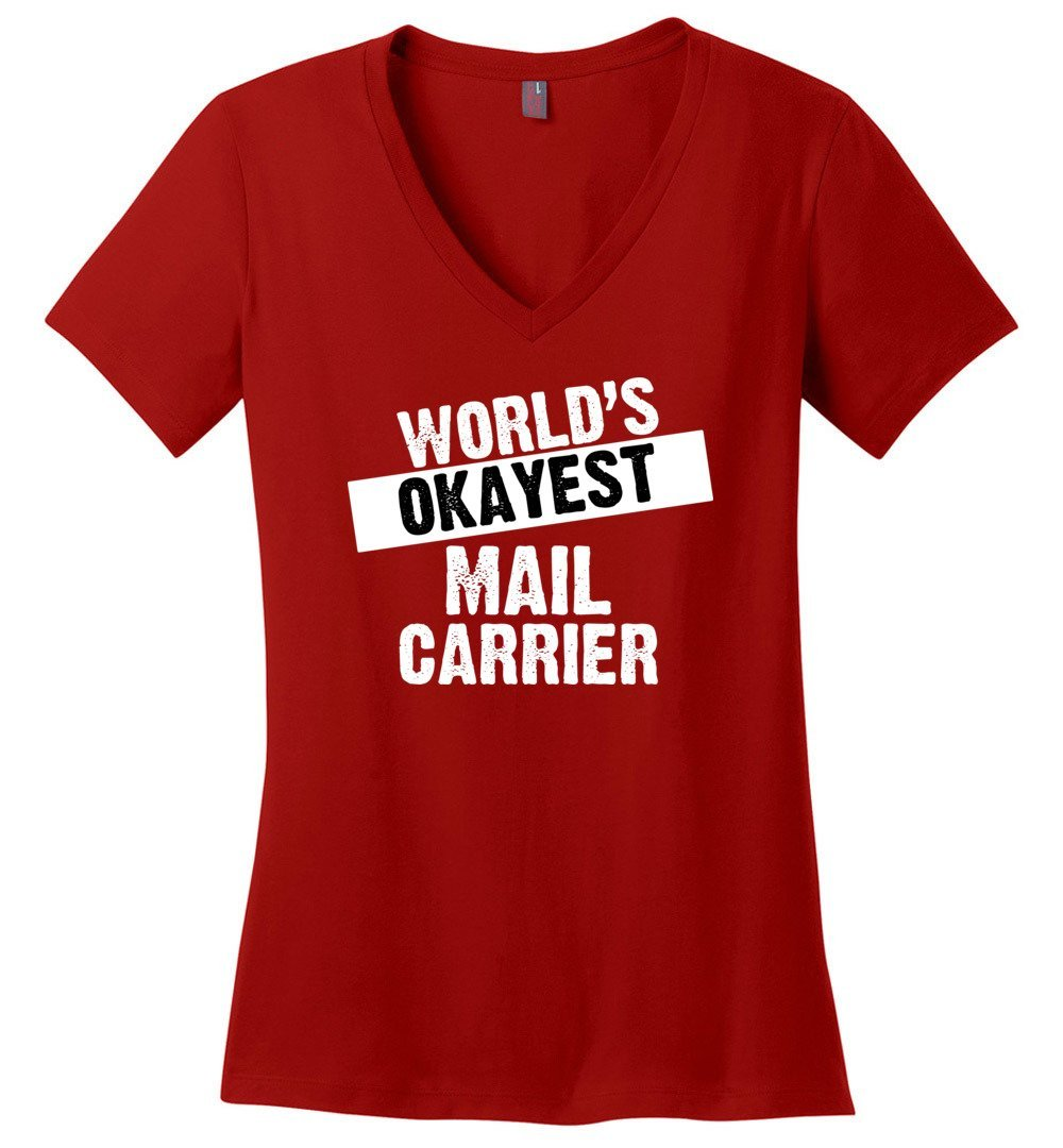 Postal Worker Tees Women's V-Neck Red / S World's Okayest Mail Carrier Women's V-Neck Tshirt