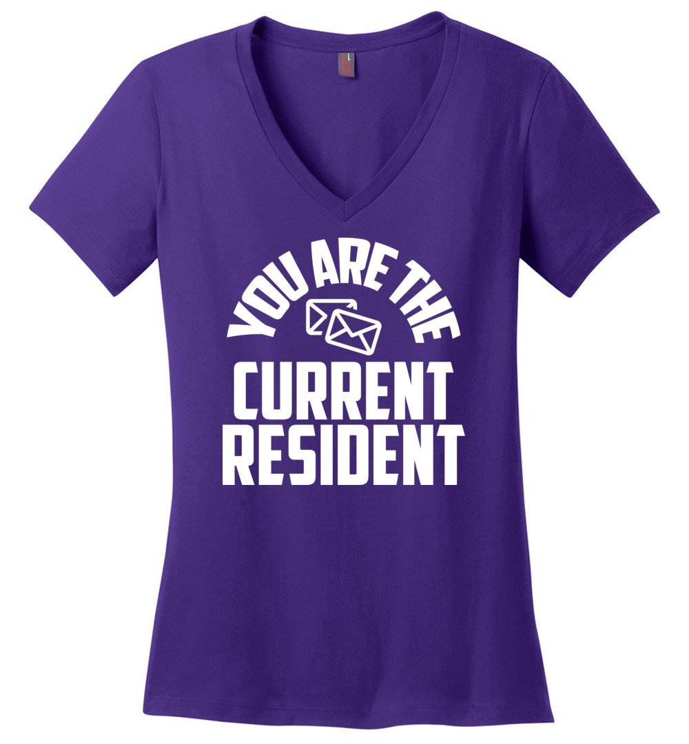 Postal Worker Tees Women's V-Neck Purple / S You are the current resident Women's V-Neck Tshirt