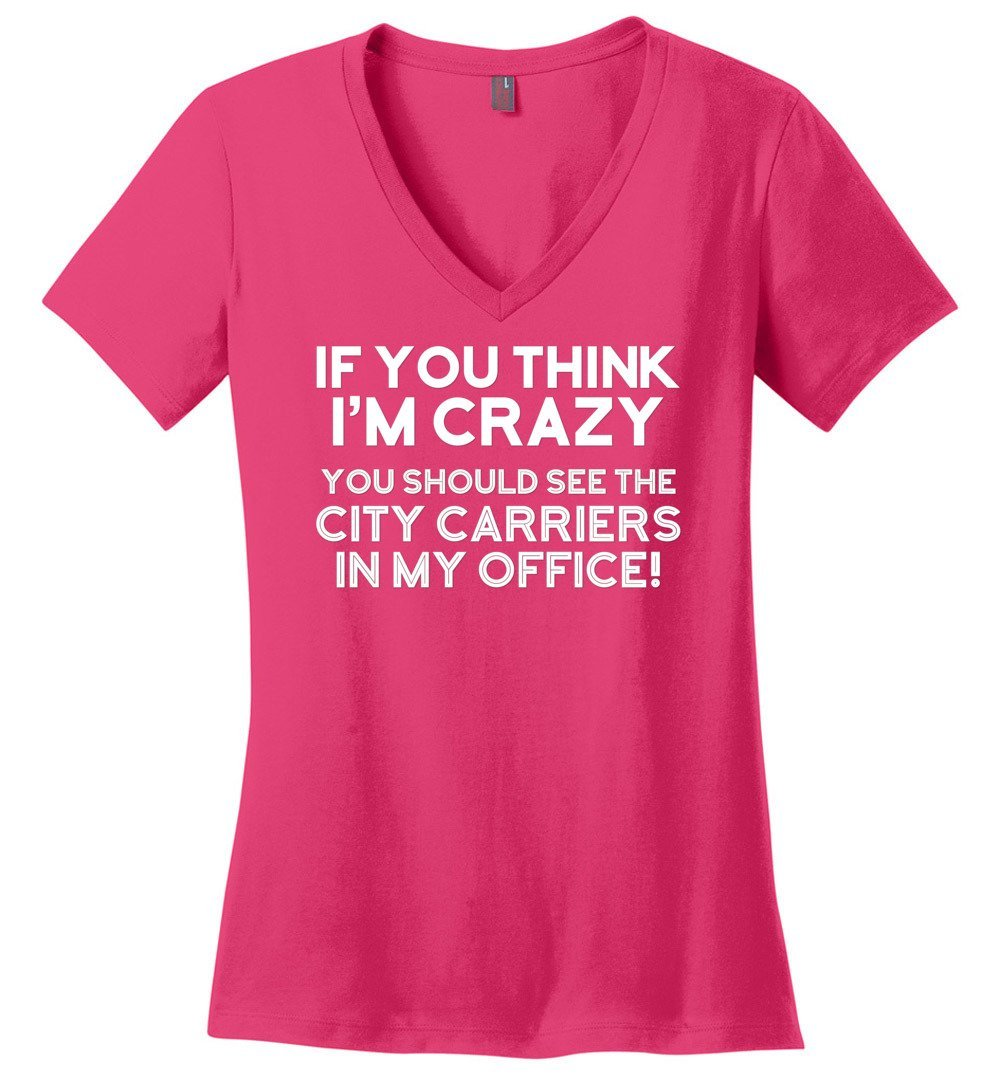 Postal Worker Tees Women's V-Neck Dark Fuchsia / S You should see the city carriers Women's V-Neck Tshirt