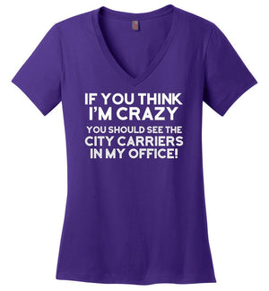 Postal Worker Tees Women's V-Neck Purple / S You should see the city carriers Women's V-Neck Tshirt