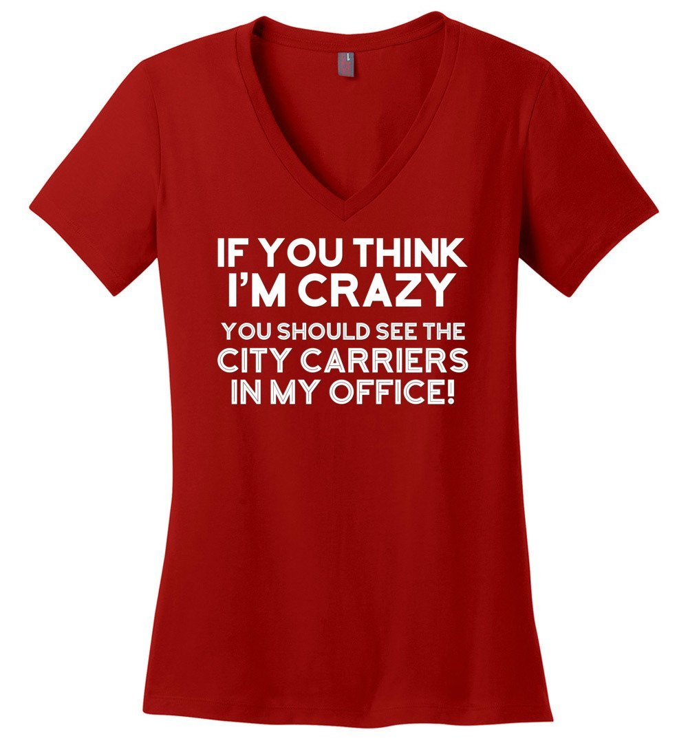 Postal Worker Tees Women's V-Neck Red / S You should see the city carriers Women's V-Neck Tshirt