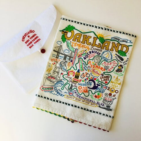 Embroidered Oakland Tea Towel