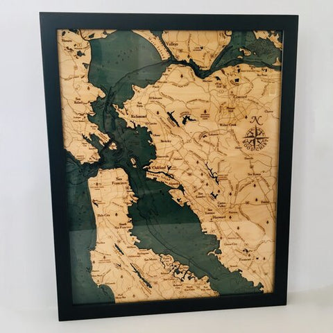 SF Bay Area 3D Nautical Wood Chart