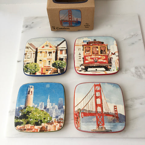 San Francisco Watercolor Coaster Set
