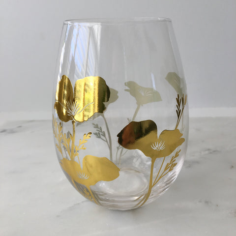 California Poppy Stemless Wine Glass