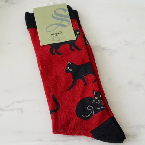Men's Socks - Black Cat Red