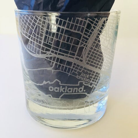 Oakland Map Rocks Glass