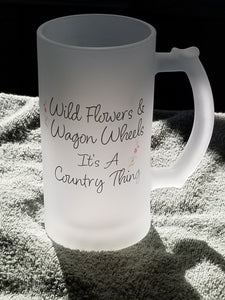 Wild Flowers & Wagon Wheel Frosted Mug