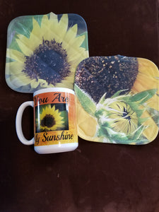 Sunflower Mug & Sunflower Pot Holders Combo