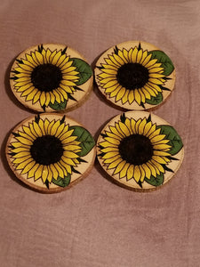Wooden Sunflower Coasters