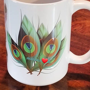 Green Peacock Feathers Mug