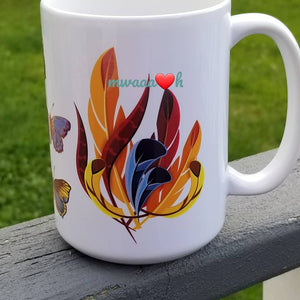Feathers & Butterflies Blue & Brown Mug
