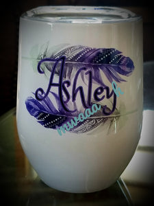 Personalized Feathers Wine Tumbler
