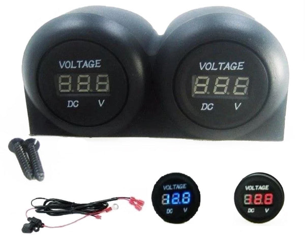 12V Double Battery Bank Dash Voltmeter Monitor RV Marine House Starting w/ Wires