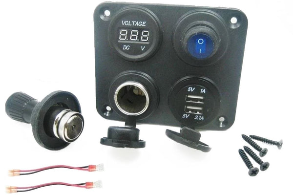 Dual USB Charger + Voltmeter +12V Socket + Switch 4 Hole Panel Marine Car Truck