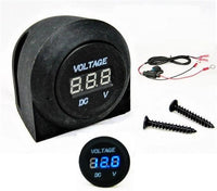Industrial Round 12 Volt Red Voltmeter Digital Battery Monitor Panel Mount Wires - 12-vtechnology