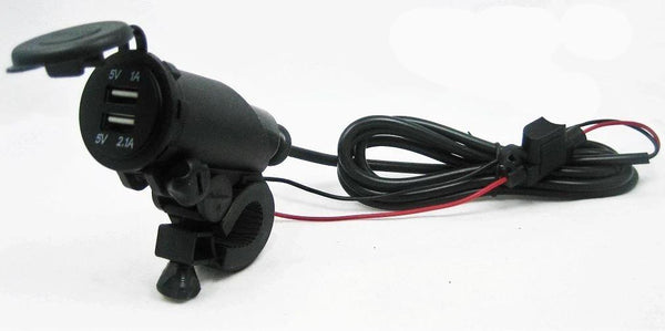 USB Charger 3.1 Amps Outlet Socket Plug 12V Outlet Handlebar Motorcycles Mount - 12-vtechnology