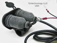 Dual Motorcycle Handlebar Mount USB Charger + 12 V Power Switch Plug Outlet - 12-vtechnology