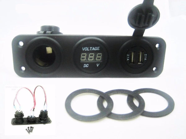Highest 4.2 Amp USB Charger + Voltmeter +12 V Socket Panel Marine Outlet + wires - 12-vtechnology