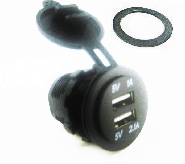 No LED Waterproof 3.1A USB Charger Socket 12V Outlet Power Marine Motorcycles - 12-vtechnology
