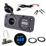 Solar Battery Socket + Voltmeter Panel Status Monitor Marine 12 Volt RV Plug Outlet - 12-vtechnology
