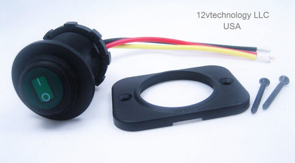 Waterproof Round Rocker Toggle Switch Panel Socket SPST Marine CAR On-Off 12V GR - 12-vtechnology