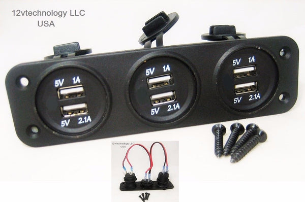 No LED Industrial Triple USB 9.3 Amp Chargers Panel Plug Mount Marine 12 Volt Outlet - 12-vtechnology