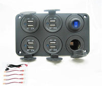 New Waterproof 12.4 Amp Dual USB Charging + Switch + w/ Wires + 12 Volt Plug Socket - 12-vtechnology