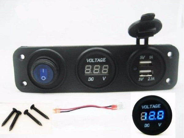 Triple USB Charger + Blue Voltmeter +Blue Switch Panel Marine Outlet w/ Jumpers