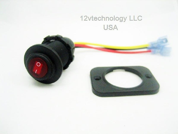 Waterproof LED Rocker Toggle Switch SPST Marine 12v Panel Round Lighted Boat Red - 12-vtechnology