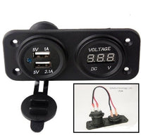 Twin USB 3.1 Amp Charger and Voltmeter Panel Mount Marine 12 V Motorcycle Outlet - 12-vtechnology