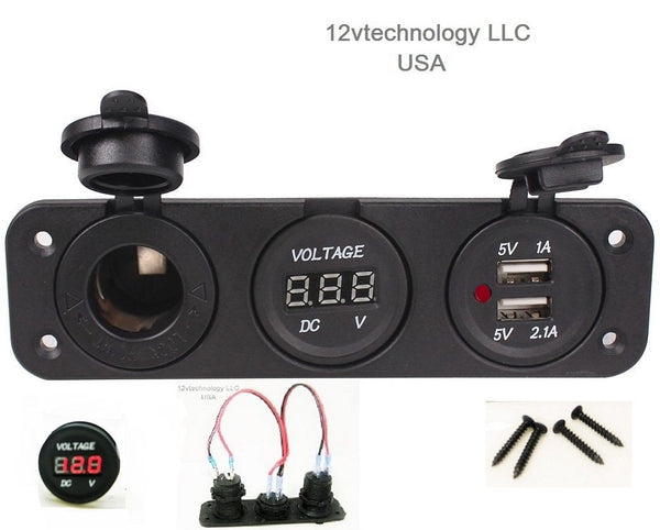 Red Triple 3.1 Amp USB Charger + Red Voltmeter +12V Socket Panel Marine + Jumper