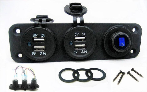 Waterproof Blue Dual 6 Amp +USB Charger + LED Switched Panel Outlet + Wires - 12-vtechnology