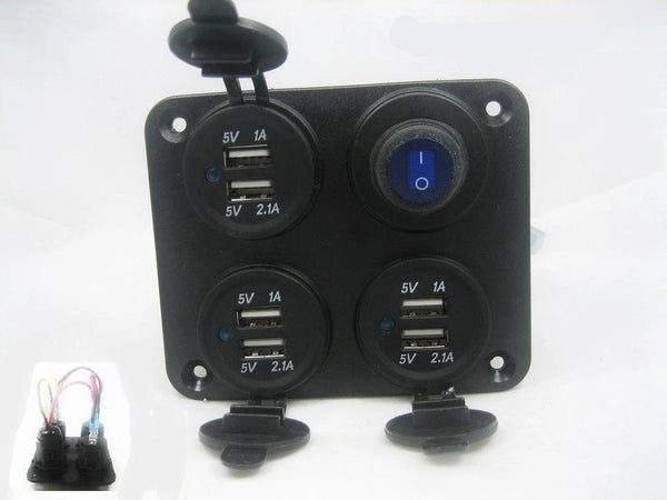 Charging Station Panel Wall Mount 9.2 Amp USB Charger Outlet Power Switch 12v - 12-vtechnology