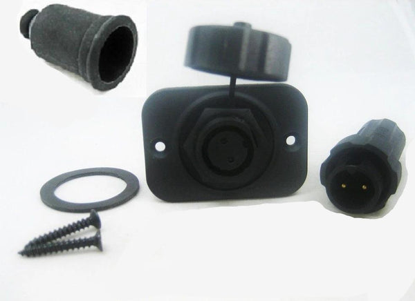 New Waterproof Two 2 Pin Wire Terminal Solar Panel Connector Marine w/ Boot 12V - 12-vtechnology