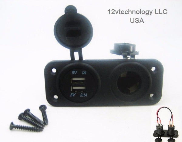 No LED Dual USB 3.1A Charger and Socket Panel Mount Marine 12V Boat Power Outlet - 12-vtechnology
