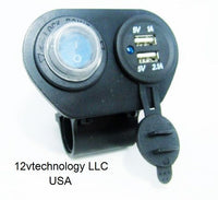 Dual Motorcycle Handlebar Mount USB Charger 3.1 A w/ Switch 12 Volt - 12-vtechnology