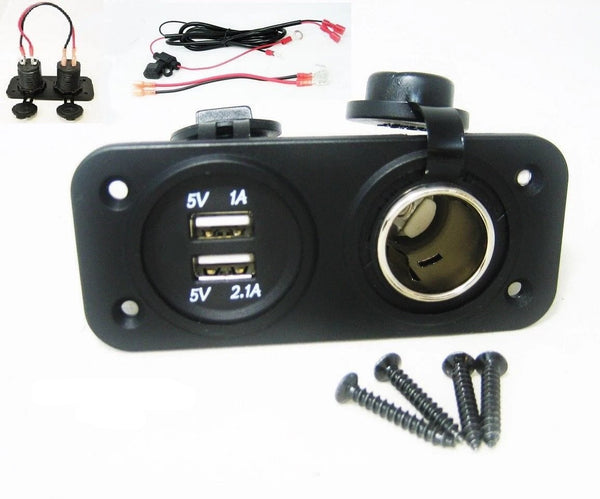Waterproof Dual USB Charger and 12V Heavy Duty High Power 20A Socket Marine Wire - 12-vtechnology