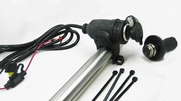"Motorcycle Cigarette Lighter 12 V Socket Outlet Plug Handlebar Mount & 60"" Wires - 12-vtechnology"