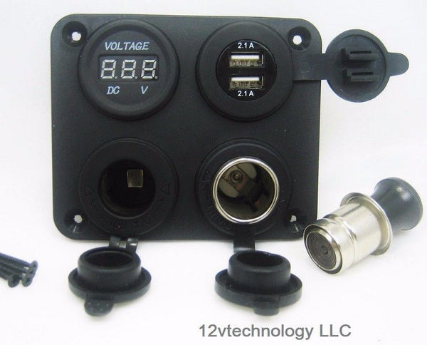 Panel High Power 4.2 A USB Charger + Voltmeter +12V Socket & Lighter Plug Dash - 12-vtechnology