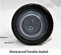 Double Sealed Waterproof Rocker 12 Volt Toggle Switch SPST Black Socket Round IP66 - 12-vtechnology
