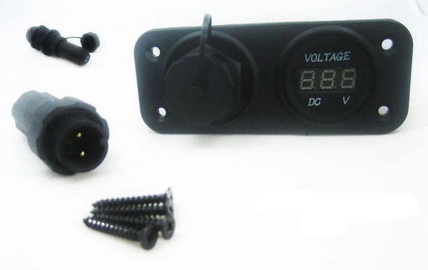 Waterproof Two 2 Pin Wire Terminal Solar Panel Connector 12V Socket Voltmeter - 12-vtechnology
