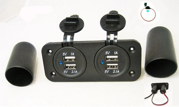 Waterproof Dual USB 3.1 Amp Chargers Plug  Mount 12V Outlet + Boot + Wires +Fuse - 12-vtechnology