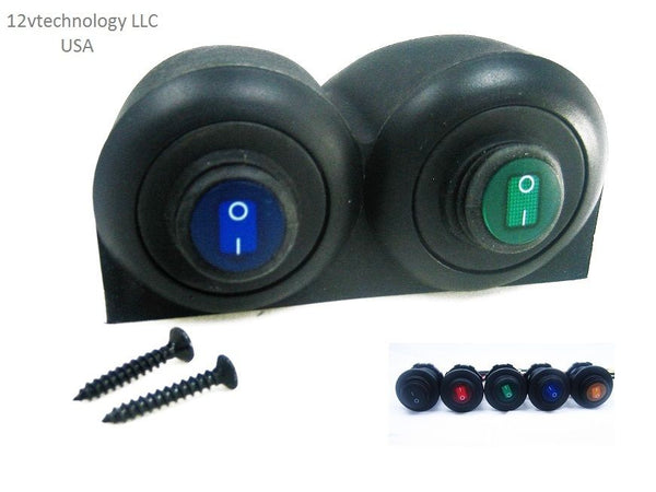 Twin Case Waterproof Rocker Toggle Switches SPST Marine Socket 12 Volt LED Choice - 12-vtechnology